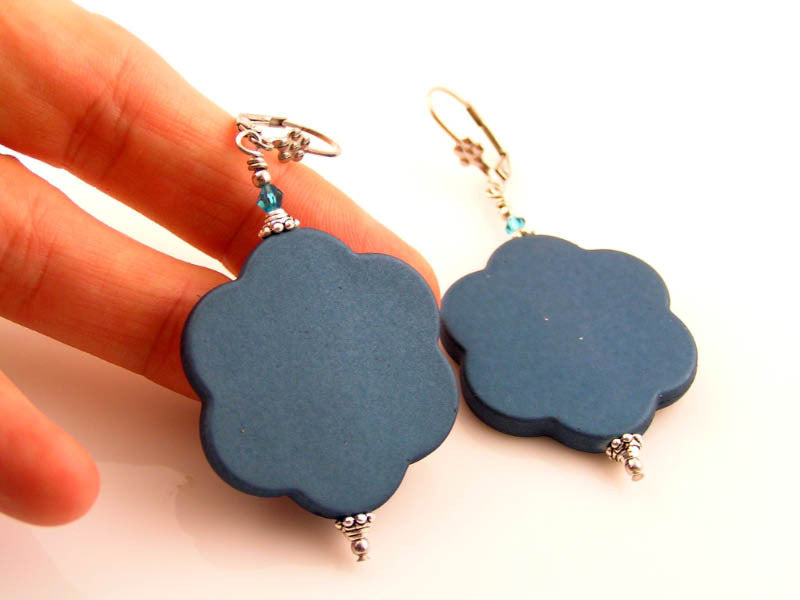 Large Retro Flower Earrings, Teal Blue, Other Colours Available