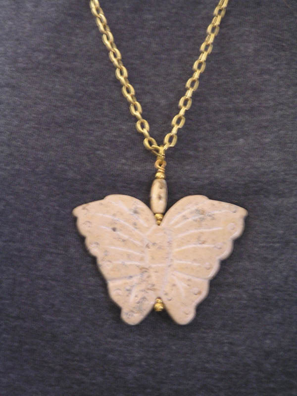 Carved Jasper Butterfly Necklace
