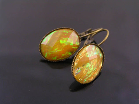 Bright Shimmering Yellow Cabochon Earrings