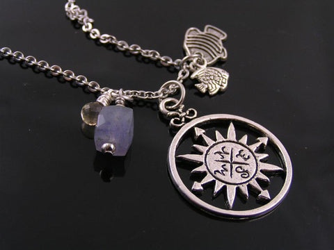 Compass Necklace with Fish Charms, Wire Wrapped Citrine and Iolite