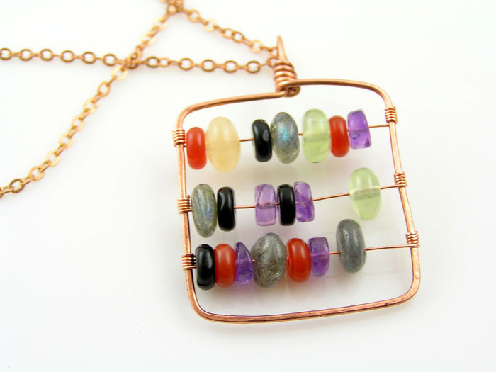 Abacus Necklace, Handmade with Gemstones, Solid Copper