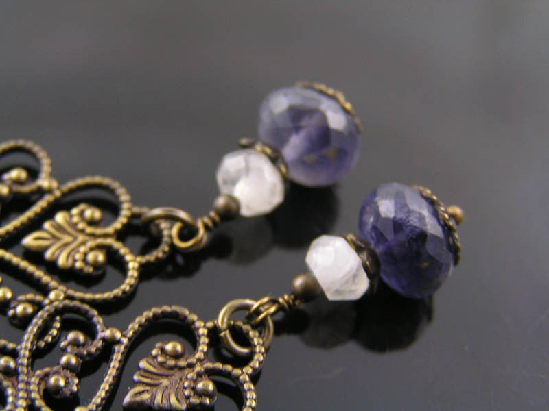 Chandelier Earrings with Iolite and Moonstone