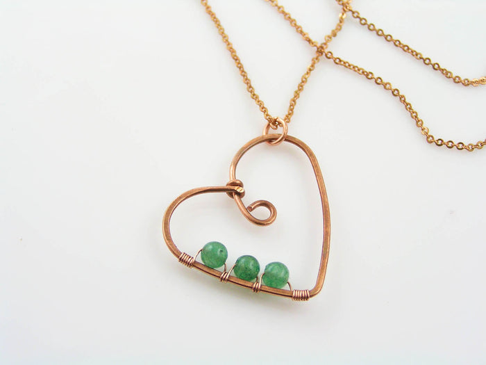 Wire Wrapped Heart Necklace with Jade Beads