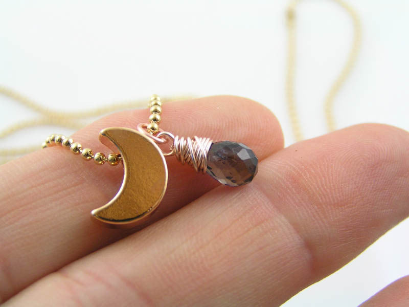Rose Gold Crescent Moon Necklace with Iolite