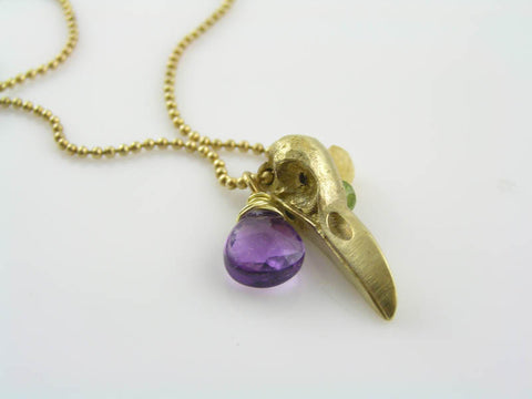 Gothic Bird Skull Necklace with Amethyst, Citrine and Peridot