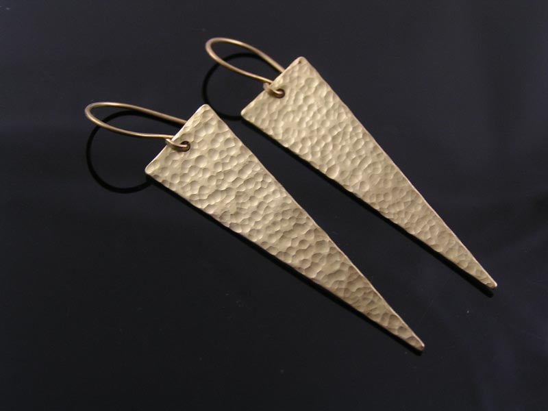 Handmade Hammered Earrings, Large Triangles