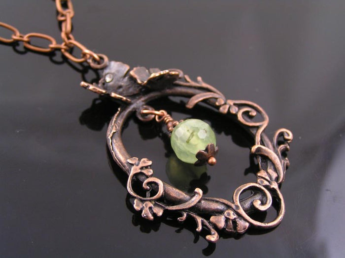 Bohemian Necklace with Prehnite and Garnet, Antique Copper