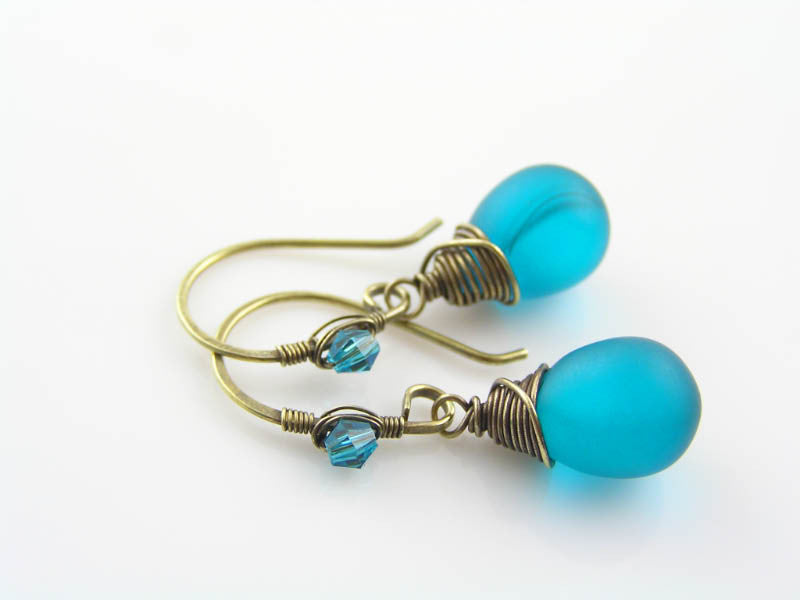 Wire Wrapped Teal Sea-Glass Earrings