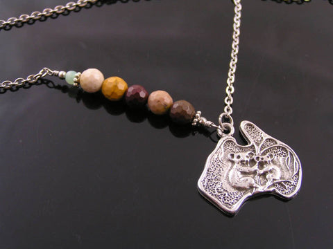 Australia Map Necklace with Faceted Mookaite and Chrysoprase