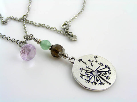 Dandelion Necklace with Amethyst, Smokey Quartz and Green Aventurine