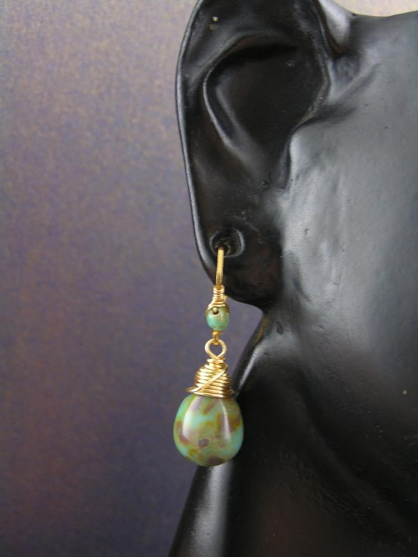 Wire Wrapped Green and Gold Earrings