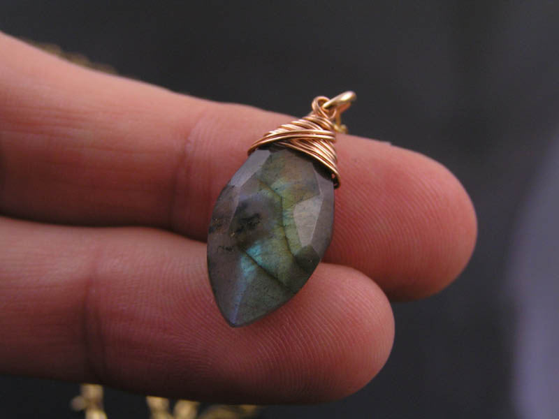 Labradorite Pendant on Solid Real Bronze Necklace