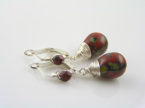 Wire Wrapped Silver and Red Earrings