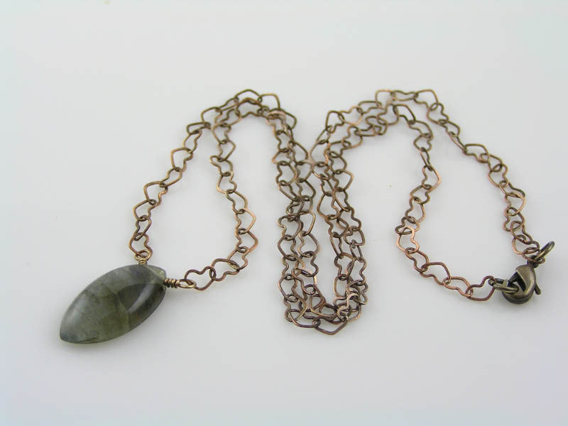 Blue Labradorite on Heart Chain