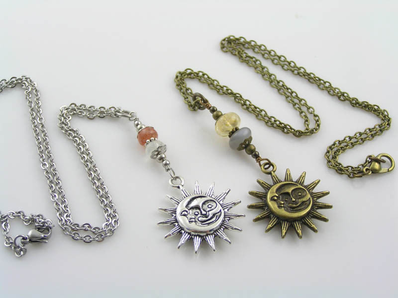 Sun and Moon Necklace with Sunstone and Moonstone