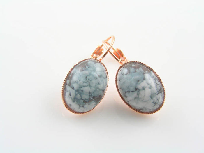Rose Gold Earrings with Blue and White Cabochons