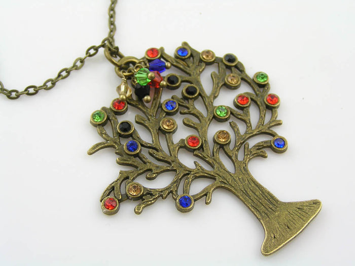 Tree of Life Necklace, Hand-Set Crystals