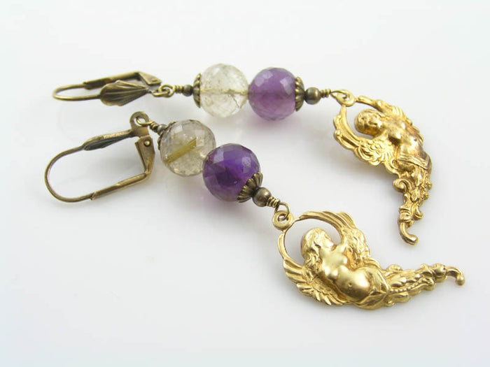 Mermaid Earrings with Amethyst and Rutilated Quartz
