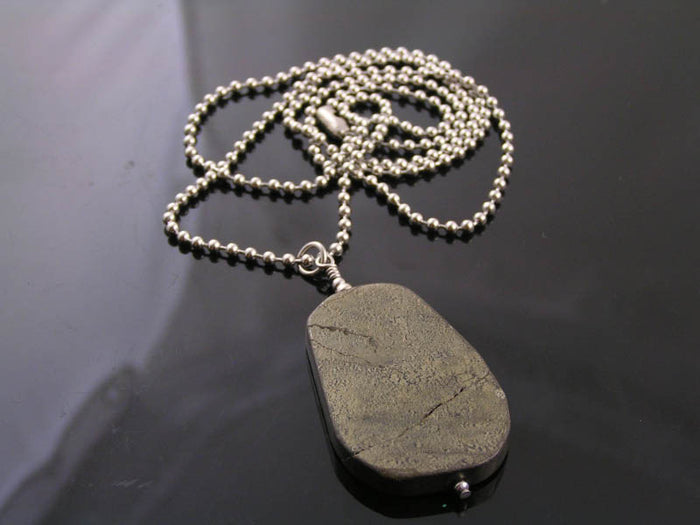 Pyrite Necklace, Gift Idea for Him, Large Gemstone