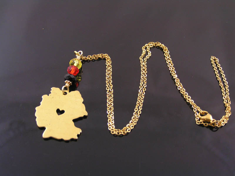 Germany Map Necklace, Gold