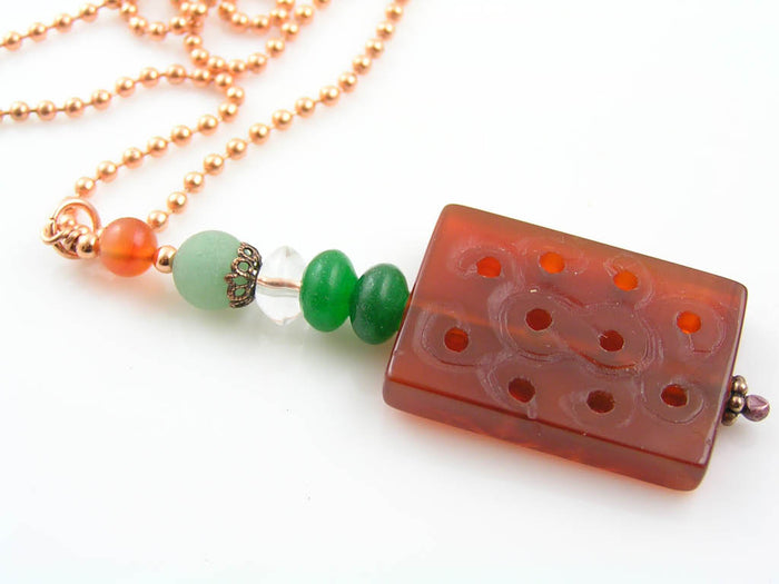 Carved Agate Lucky Bead Necklace with Aventurine and Carnelian