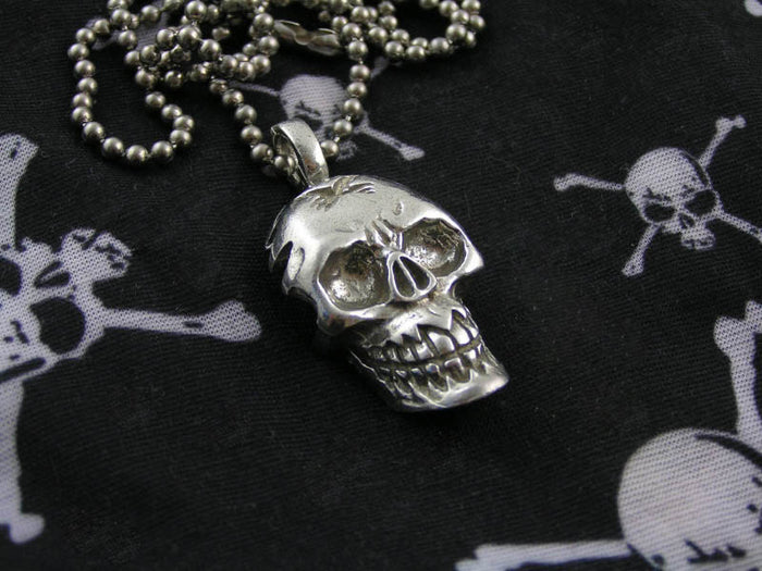 Heavy Skull Necklace, Biker Jewellery, Gothic Necklace