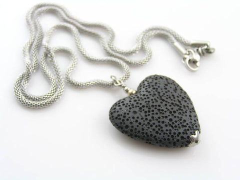 Black Lava Stone Heart Necklace, Mesh Chain