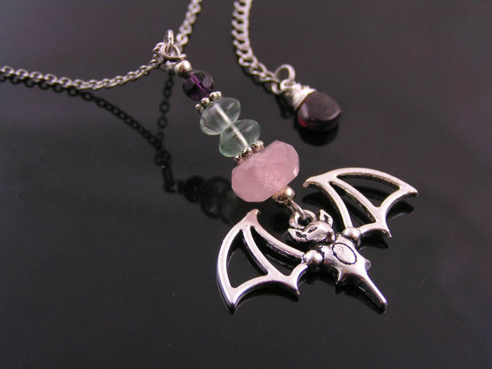 Bat Necklace with Rose Quartz, Fluorite and Amethyst