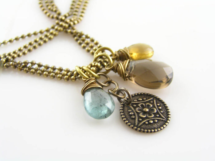 Three Strand Necklace with Aquamarine and Smokey Quartz