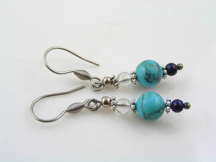 Turquoise, Lapis Lazuli and Rock Quartz Earrings