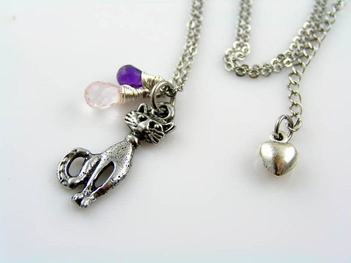 Super Cute Cat Necklace with Amethyst and Rose Quartz