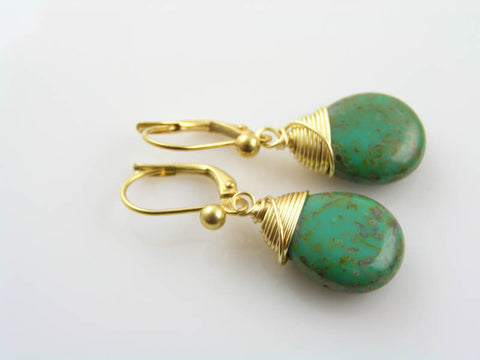Green Czech Glass Drop Earrings