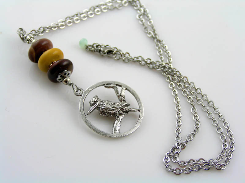 Kookaburra Pendant Necklace with Australian Gemstones Mookaite and Chrysoprase