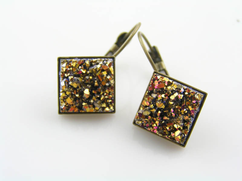 Colourful, Sparkling Druzy Earrings, Rose Gold