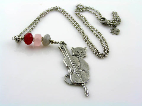 Cat and Cello, Necklace with Moonstone, Rose Quartz and Ruby Quartz