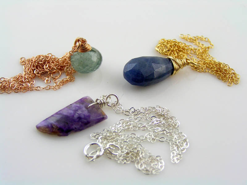 Charoite Necklace in Sterling Silver