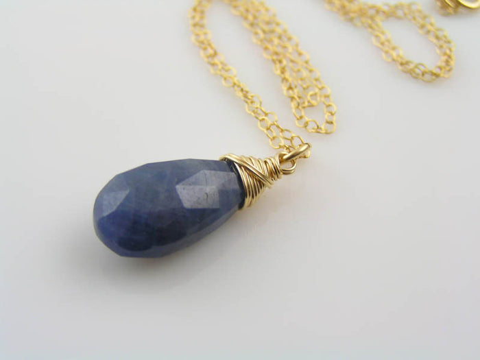 Blue Sapphire Necklace, 1/20 14K Yellow Gold Filled