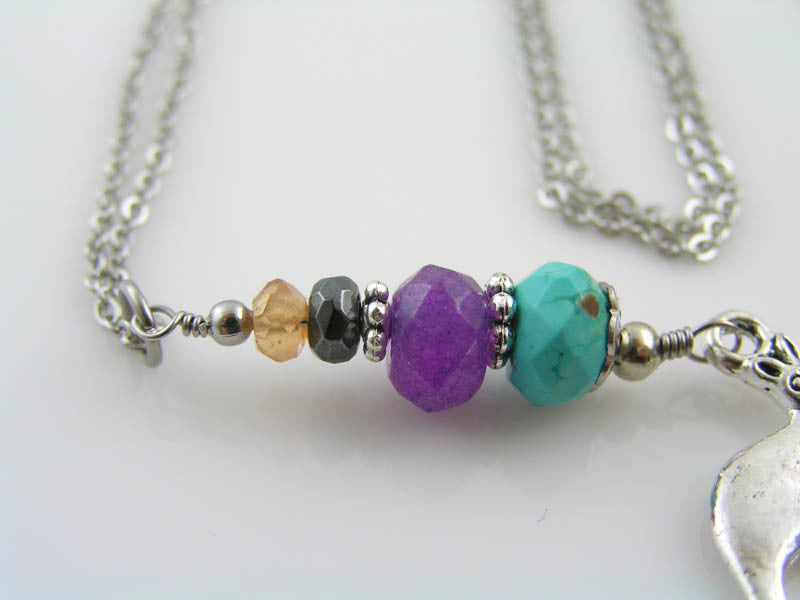 Kangaroo Necklace with Turquoise and Purple Jade