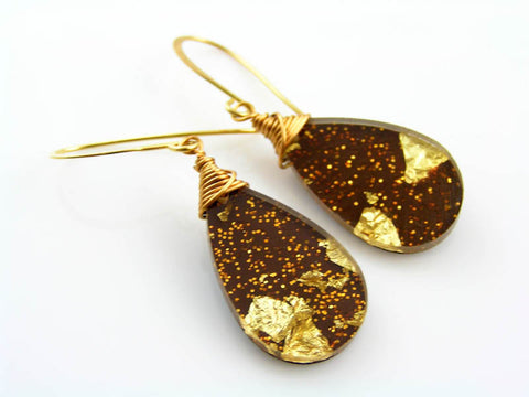 Acrylic Earrings with Glitter