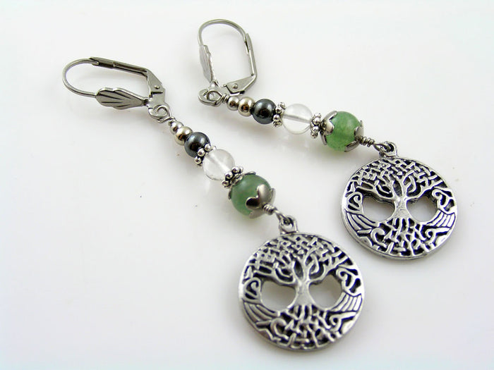 Tree of Life Earrings with Aventurine, Rock Quartz and Hematite
