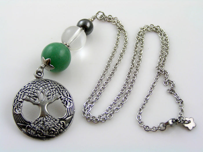 Tree of Life Necklace with Aventurine, Rock Quartz and Hematite