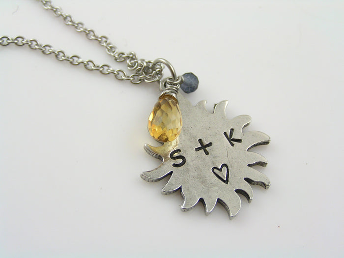 Sun Necklace, Personalize with Initials