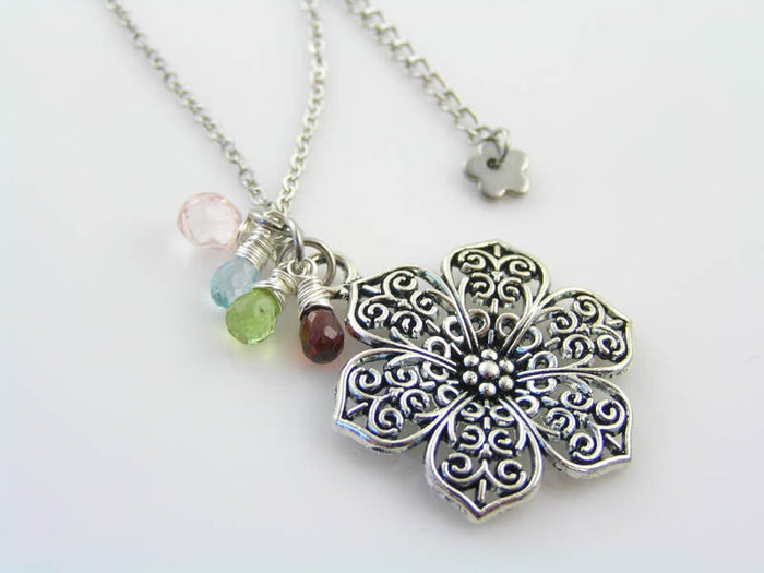 Flower Necklace with Garnet, Blue Topaz, Peridot and Rose Quartz