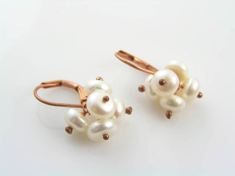 Pearl Cluster Earrings, Pom Pom Earrings