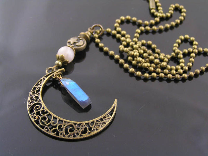 Filigree Crescent Moon Necklace with Labradorite and Moonstone