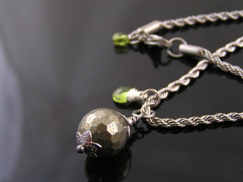 Pyrite Necklace with Birthstone, August Birthstone Peridot