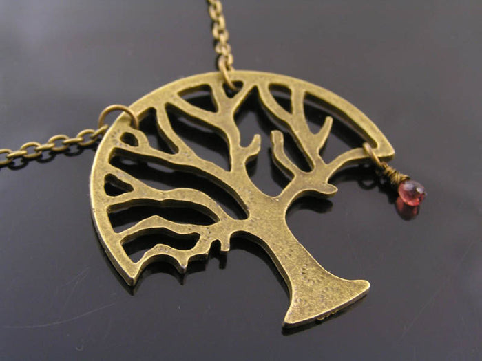 Tree Necklace with Garnet