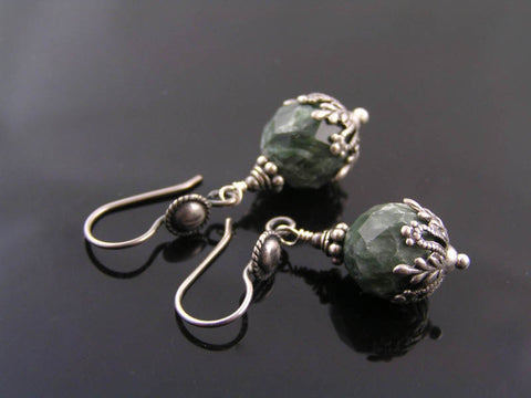 Rare Russian Seraphinite Earrings, Sterling Silver
