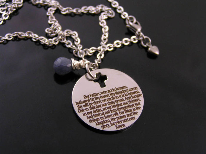 Lords Prayer Necklace, Our Father Prayer Necklace with Blue Sapphire