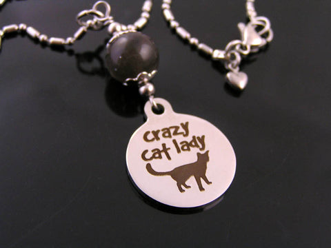 Crazy Cat Lady Necklace with Genuine Cats Eye Chrysoberyl